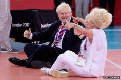 Boris Johson and Barbara Windsor trying sitting volleyball!
