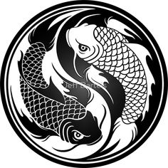 "Koi fish are the domesticated variety of common carp. Actually, the word ""koi"" comes from the Japanese word that means ""carp"". Outdoor koi ponds are relaxing. Arte Yin Yang, Ying Y Yang, Yin Yang Koi, Yin Yang Tattoos, Tatuajes Yin Yang, Carpe Coi, Art Koi, Yen Yang, Koi Kunst"