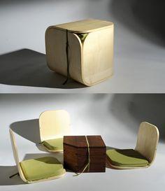Greg Moogk was inspired by the traditional Japanese snack, Onigiri (triangular rice ball) to make this set of furniture. #powerpatate #creativite