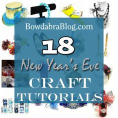 18 NYE Crafts ~  >Party Hat  >Ruffled Ribbon Headband  >Confetti Holder  >Formal Necklace 3-Row Necklace  >Noise Makers  >Bow Tie Shoe Clips  >Recycled CD Wreath  >Holiday Candles  >Wine Glass Tags  >Recycled Bottle Noise Maker  >Ball Drop Holiday Ornament  >Glitter, Feathers, and Bow Headband  >Centerpiece  >Flower Statement Rings  >Bow with Ribbon Leaves (for hair)  >Soda Can Centerpiece  >Bottle Gift Wrap    Link…