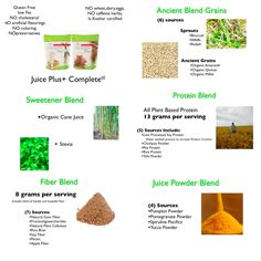 Juice Plus+ Complete - a whole-food-based beverage mix. An on the go breakfast, pre-exercise energy drink, post workout recovery drink or a between meal snack. BOTH the Dutch Chocolate & the French Vanilla contain these special blends.                                   www.barbd.juiceplus.com