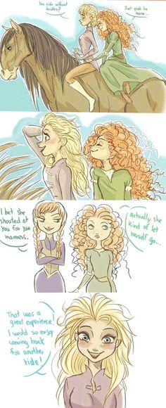 Elsa goes horseback riding with Merida