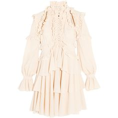 Alexander McQueenTiered Ruffled Silk-georgette Mini Dress (6.150 BRL) ❤ liked on Polyvore featuring dresses, alexander mcqueen, pastel pink, pink frilly dress, high neck dress, pink dress, pink mini dress and cut out mini dress