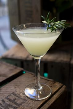 This is the Elder & Pear Martini - an autumnal cocktail with a blend of gin, elderflower liqueur, pear purée, fresh lime and rosemary leaves.