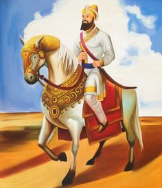 Guru Gobind Singh Sikh Equestrian Art Handmade Indian Ethnic Oil Canvas Painting