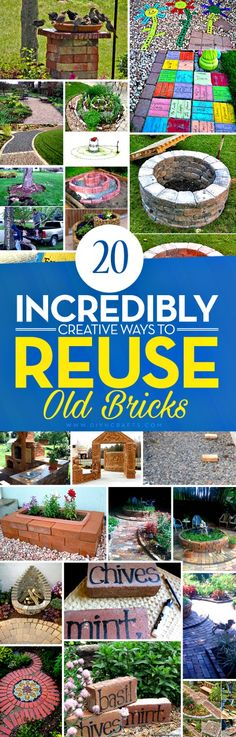 20 Incredibly Creative Ways To Reuse Old Bricks - Whether you've got a handful of bricks or an entire house worth, there is a great DIY project just waiting to put them to use. I've found a great collection of 20 incredible DIY projects that use bricks, and in some cases, nothing else. There is everything in here from do it yourself walkways to candles, and so much more. via @vanessacrafting