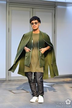 """New japanese street fashion been published on http://www.tokyofaces.com/2015/09/20/shades-of-olive-green/ """"Shades of Olive Green Jacket: Muze Shirt: Muze Vest: Muze Pants: Muze Sunglasses: Laforet Harajuku Shoes: Stan Smith """" . Visit Tokyofaces.com..."""