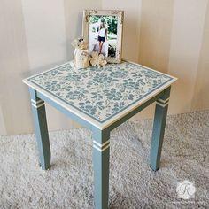Painted Furniture with Flower Stencils - Spring Rose Blossoms Furniture Stencils - Royal Design Studio