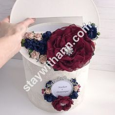 Burgundy and Navy Blue Personalized Wedding Card Box With Flowers and Silver Frame Money Box Wedding, Card Box Wedding, Navy And Burgundy Wedding, Blush Roses, Handmade Flowers, Dusty Rose, Personalized Wedding, Elegant Wedding, Color Schemes