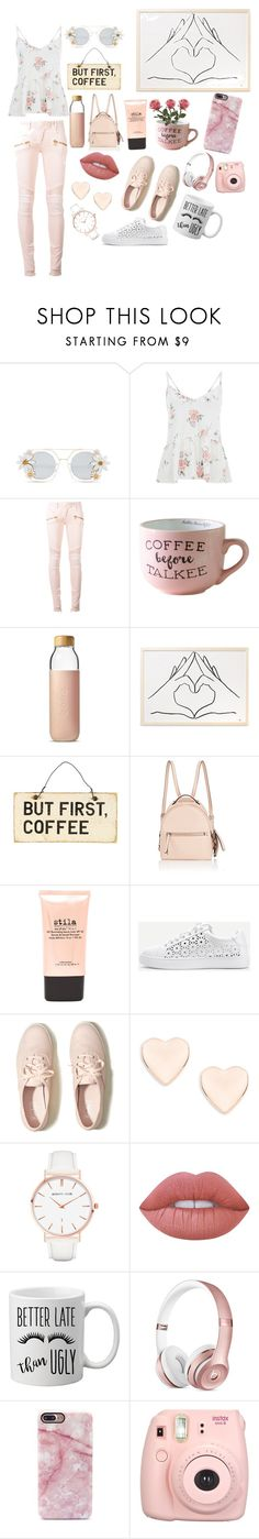 """""""Caffeine Queen"""" by francescabreggia ❤ liked on Polyvore featuring Cara Accessories, Balmain, Soma, Fendi, Stila, WithChic, Hollister Co., Ted Baker, Abbott Lyon and Lime Crime"""
