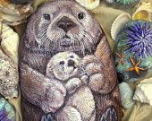 Sea Otter Original Painting on Stone - Mom and Pup - Hand Painted- Large painted rock