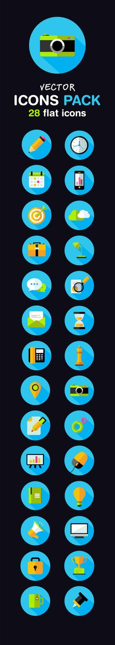 Free Flat Icons Pack by Alex Wishnewsky, via Behance
