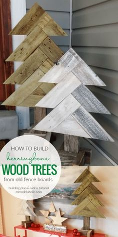 How To Build DIY Rustic Herringbone Wood Christmas Trees From Old Fence Boards Video tutorial and free building plans at Christmas Wood Crafts, Pallet Christmas, Wood Christmas Tree, Christmas Signs, Rustic Christmas, Christmas Projects, Holiday Crafts, Old Wood Crafts, Theme Noel