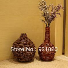 2013 NEW floor vase flower vase flower basket rattan vase decoration vintage big flower pot VS03 $56.46
