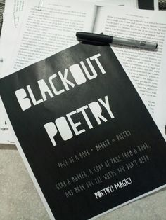 Setup for blackout poetry activity-simple!