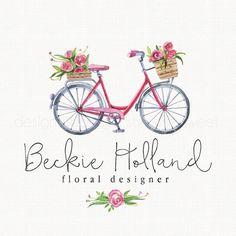 bicycle logo design florist logo design by stylemesweetdesign
