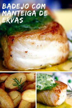 Badejo com manteiga de ervas e arroz basmati Indian Food Recipes, Paleo Recipes, Cooking Recipes, Ethnic Recipes, Carne, Seafood, Food And Drink, Low Carb, Menu