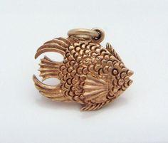 Vintage Gold 3D Damselfish Ocean Marine Fish Charm 1950s