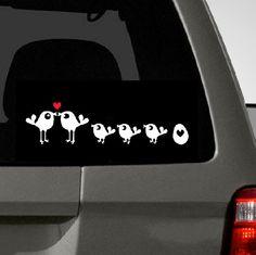 Bird Family Car Decal on Etsy, $9.98