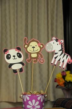 Girl Themed Zoo Animal  ( 1 Zebra, 1 Monkey and 1 Panda )  Birthday Party Table Topper set. $5.00, via Etsy.