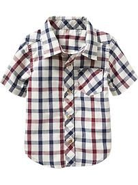 Short-Sleeve Plaid Shirts for Baby
