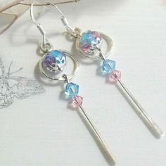Boucles d'oreilles argent massif, perle lampwork bleue, cristal swarovski bleu, rose, ref 220