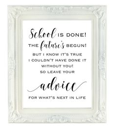 Graduation Gifts Discover Advice for the Graduate Sign Graduation Party Sign Printable Sign Graduation advice Commencement Party Advice High school College Graduation Party Planning, College Graduation Parties, Graduation Celebration, Graduation Decorations, Grad Parties, College Graduation Quotes, Graduation Party Favors, Graduation Centerpiece, Graduation 2016
