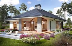 Miriam V - Dobre Domy Flak & Abramowicz Beautiful House Plans, Beautiful Homes, Future House, My House, Plan Chalet, Modern Bungalow House, Modern Bungalow Exterior, Bungalows, Sweet Home