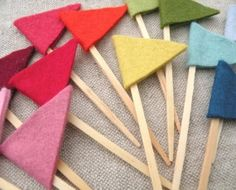 felt flags or pennants, maybe for my new flower pots?  Made a few but needed better colors to look cuter