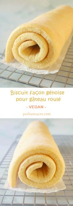 Genoese cookie for rolled cake without eggs {vegan} - Sugar pearl - Perle en sucre Vegan Cheesecake, Cheesecake Recipes, Vegan Dessert Recipes, Vegan Sweets, Patisserie Vegan, Gateaux Vegan, Plant Diet, Chocolate Deserts, Desserts With Biscuits