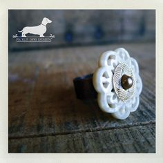 Golden Snowflake Adjustable Ring  VintageStyle by PickleDogDesign, $8.00