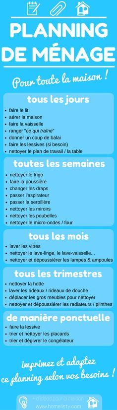 [TÉLÉCHARGEMENT GRATUIT] : Planning De Ménage Pour La Maison !  http://www.homelisty.com/planning-menage-maison/