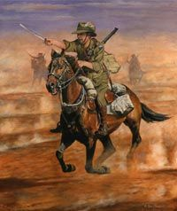 Oil painting by military equestrian artist Ron Marshall, of an Australian Light Horseman during the Charge of Beersheba. Military Art, Military History, Military Uniforms, World War One, First World, Anzac Soldiers, Ww1 Soldiers, Canadian Soldiers, Ww1 Art