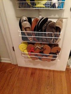 Keep your flip-flops and flats contained with this simple solution. Via Curly Girl: Quick Tip: Hiding the Flats and Sandals
