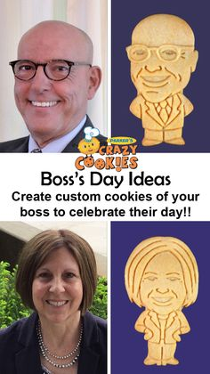 Throw the best Boss Day Party ever with custom cookies of your Boss!! Nothing can be more fun then munching on animal cracker like cookies of your boss to celebrate Boss's Day!! Discover the magic at www.parkerscrazycookies.com. As seen on the Food Network Channel and the Today Show!