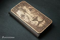 Lion face iPhone 6 Wallet Case Wood Leather Walle by WOODGRAWshop