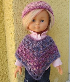 Passion Dolls: Poncho and hat crocheted Poncho Crochet, Bonnet Crochet, Crochet Diy, Crochet Granny, Crochet Hats, Crochet Barbie Clothes, Baby Doll Clothes, Doll Clothes Patterns, Pet Clothes