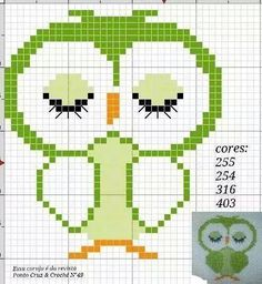 Owl perler bead pattern Cross Stitch Owl, Cross Stitch Needles, Cross Stitch Animals, Cross Stitch Charts, Cross Stitching, Cross Stitch Embroidery, Funny Cross Stitch Patterns, Cross Stitch Designs, Owl Patterns