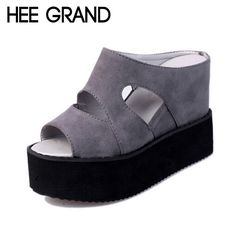 HEE GRAND 2017 Summer Slides Sexy Cut outs Women Platform Sandals Wedge High Heels Shoes Woman XWZ2482
