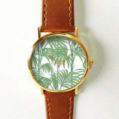 Palm Leaves Watch  Leather Watch Women Watches by FreeForme