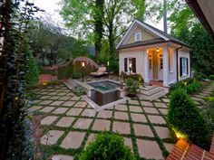 Author Emily Giffin's former Atlanta Home featues a paved and grass patio