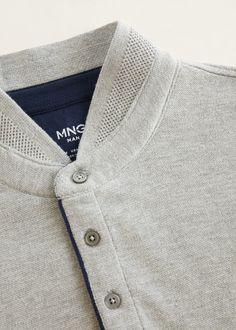 Mao collar cotton polo - Man Mango Man The Philippines Mens Summer T Shirts, Mens Polo T Shirts, Polo Tees, Men's Polo, Polo Shirt Style, Polo Shirt Outfits, Collar Styles, Shirt Designs, Menswear