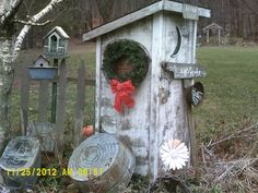Even our old outhouse gets decked out for Christmas!