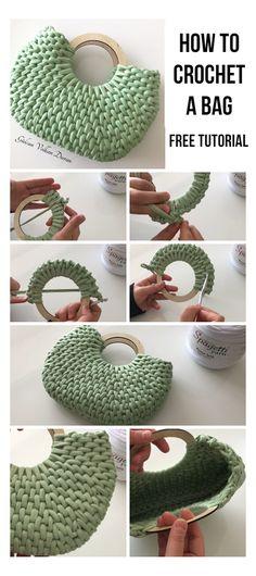 Crochet Tote, Crochet Handbags, Crochet Purses, Crochet Crafts, Crochet Stitches, Crochet Projects, Free Crochet Bag, Blanket Crochet, Crochet Designs