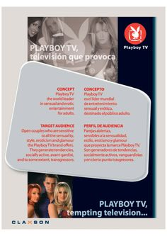 Diseño Gráfico. Cliente: Claxson. Señal Play Boy-Claxson Media Kit 2003-2004. Pay TV – Broadcast – Broadcast and Broadband.