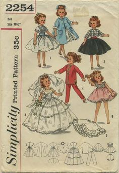 Vintage Doll Clothes Sewing Pattern | Doll's wardrobe suitable for Little Miss Revlon and Miss Ginger Dolls | Simplicity 2254 | Year 1957 | Size 10½""