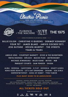 Official lineup poster for Electric Picnic 2019 including The Strokes, Florence & The Machine, Hozier and The Music Festivals Europe, European Festivals, Festivals Around The World, Love Music Festival, We Are Festival, Art Festival, Festival Posters, Concert Posters, Four Tet