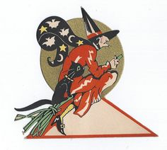 RARE Antique Art Deco Halloween Witch Flying over Moon on Broom with Black Cat Bats and Stars Vintage Gibson Place Card 1930s by santashauntedboot, $55.00