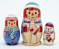 Christmas RAGGEDY ANN Nesting Doll 3pc./4""