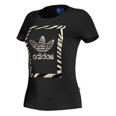 adidas Originals Zebra Trefoil Tee - Black - Women's